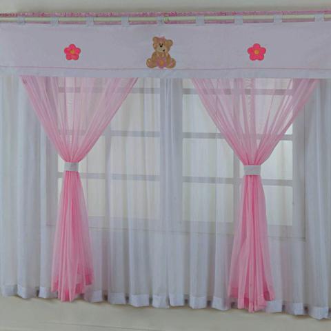 Imagem de Cortina Quarto Bebê Menina Ursinha Baby Bordada Voal 2,00 x 1,80m - Rosa