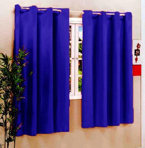 Imagem de Cortina Roma 2,00m x 1,70m Azul Royal Com ilhos - Varão Simples