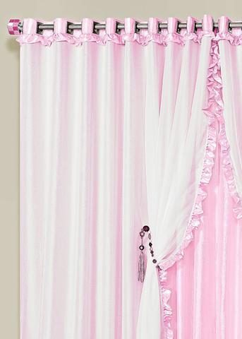 Imagem de Cortina Romantica 2,00m x 1,70m Rosa Tecido Seda Com Voal Quarto Infantil Menina