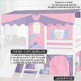 Imagem de Cortina tenda casinha rosa/lilás para cama infantil camping casatema