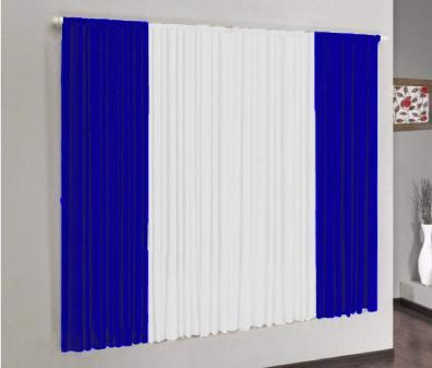 Imagem de Cortina Versátil Azul Royal e Branco 3,00m x 2,50m - Varão Simples
