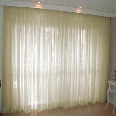 Imagem de Cortina Voil Priori Sala Quarto 4,00x2,80 Ilhós Cromado - Palha
