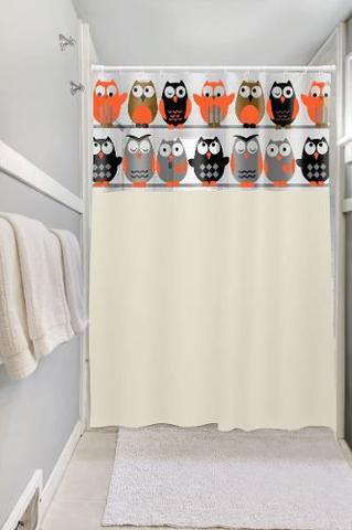 Imagem de Cortinas Com Visor Para Banheiros Box, Com Ganchos Coruja