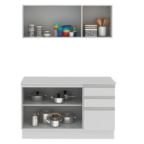 Imagem de Cozinha Compacta 100% MDF Madesa Smart 120 cm Modulada Com Balcão e Tampo