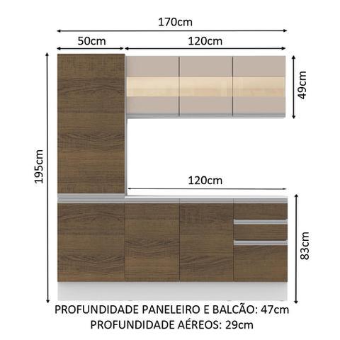 Imagem de Cozinha Compacta 100% MDF Madesa Smart 170 cm Modulada Com Armário, Balcão e Tampo