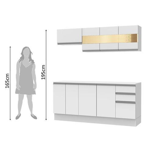 Imagem de Cozinha Compacta 100% MDF Madesa Smart 180 cm Modulada Com Balcão e Tampo