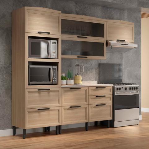 Imagem de Cozinha Compacta 2 Armários Aéreos Paneleiro Duplo e Balcão Baunilha Thela Salina