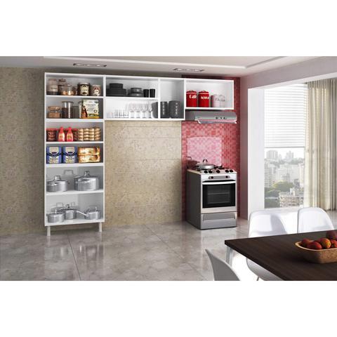 Imagem de Cozinha Compacta 3 Peças 5 Portas de Vidro sem Balcão Rubi Telasul Branco/Preto