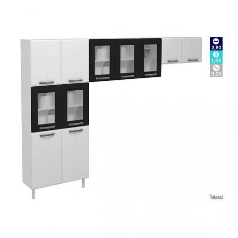 Imagem de Cozinha Compacta 3 Peças 5 Portas de Vidro sem Balcão Safira Telasul Branco/Preto