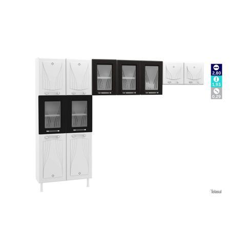 Imagem de Cozinha Compacta 3 Peças 5 Portas de Vidro sem Balcão Star Telasul Branco/Preto