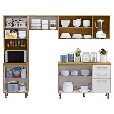 Imagem de Cozinha Compacta 4 Peças Balcão com Tampo 3 Portas de Vidro Lara Espresso Móveis Sinai/Branco