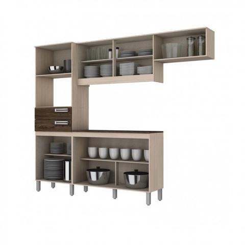 Imagem de Cozinha Compacta 5 Peças com Balcão e Tampo B107 Briz Fendi/ Moka