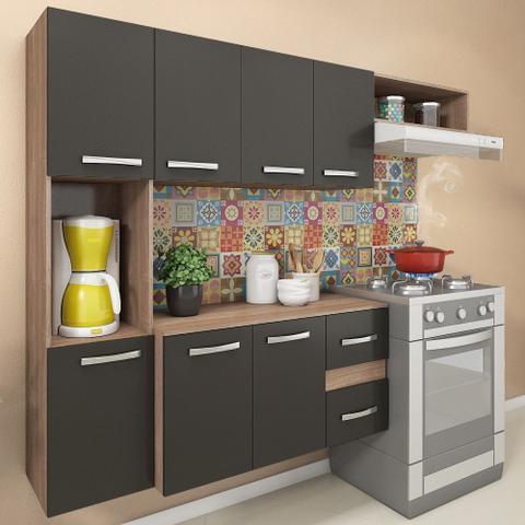 Imagem de Cozinha Compacta 7 Portas 2 Gavetas Suspensa Armário E Balcão Anita Teka/grafite - Pnr Móveis