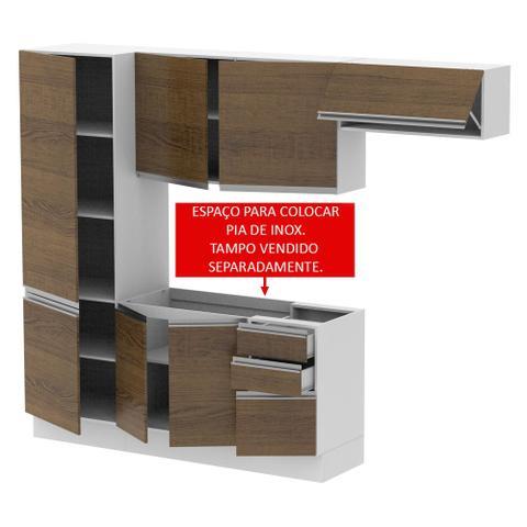 Imagem de Cozinha Compacta Madesa 100 MDF Acordes Glamy 2 gavetas 8 Portas (Sem Tampo e Pia)