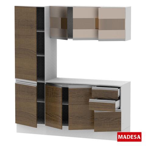 Imagem de Cozinha Compacta Madesa Smart Modulada Com Armário, Balcão e Tampo 100 MDF