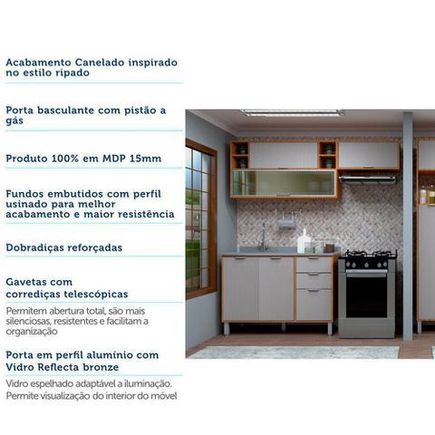 Imagem de Cozinha Compacta Modulada 3 Peças com Vidro Reflecta, Armários e Balcão de Pia Petra Luciane Móveis