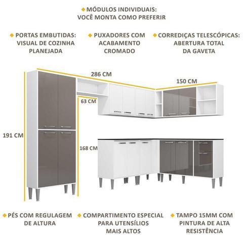 Imagem de Cozinha Completa c/ Armário e Balcão Xangai Soul Multimóveis