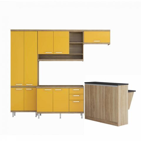 Imagem de Cozinha Completa com Bancada e balcão sem Tampo 5 Peças 8 Prateleiras Sicília Multimóveis Argila/Amarelo