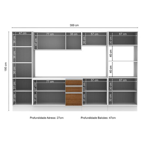 Imagem de Cozinha Completa Compacta Madesa Smart Modulada Com Armário, Balcão e Tampo 100 MDF