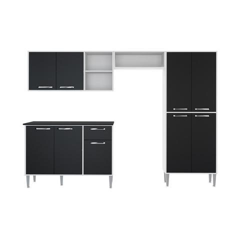 Imagem de Cozinha Completa Compacta Xangai Plus Multimóveis Branco/preto
