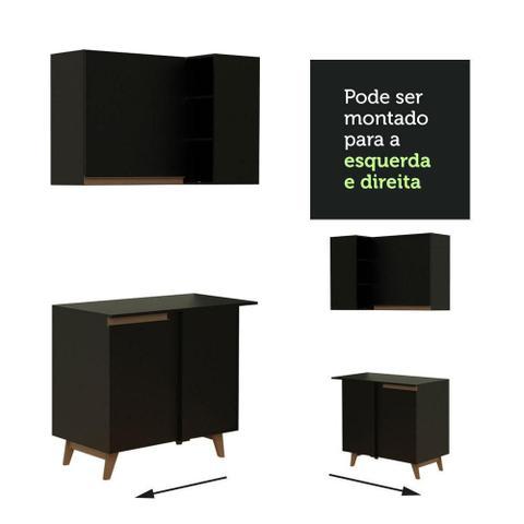 Imagem de Cozinha Completa de Canto Madesa Reims 462001 com Armário e Balcão - Preto