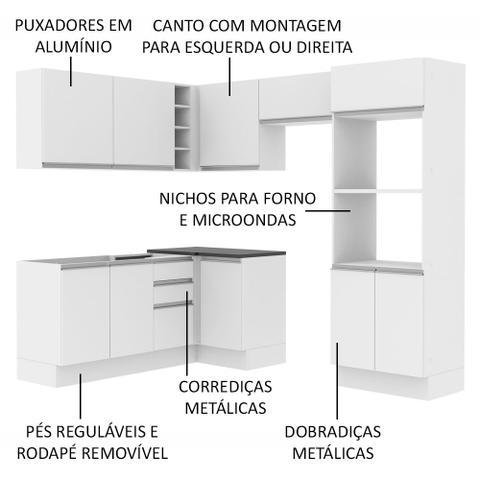 Imagem de Cozinha Completa Madesa 100% MDF Acordes Glamy de Canto (Sem Tampo e Pia)