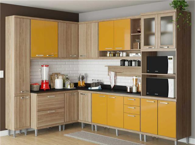 Imagem de Cozinha Completa Multimóveis com 10 peças Sicília 5803 Argila/Amarelo