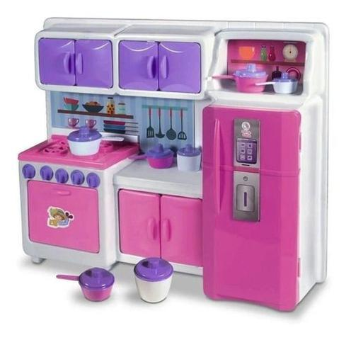 Imagem de Cozinha Cristal Rosa Infantil Geladeira Fogao Completa 45cm