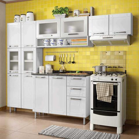 Imagem de Cozinha de Aço Compacta 4 Peças com 13 Portas Vidro e 2 Gavetas Multipla Bertolini Branco