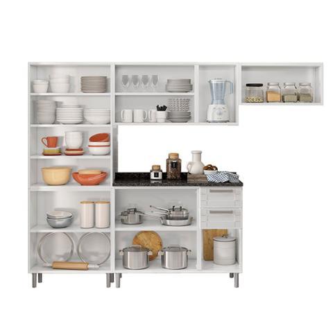 Imagem de Cozinha de Aço Compacta 4 Peças com 14 Portas Vidro Temperado e 1 Gaveta Multipla Bertolini Branco