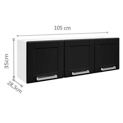 Imagem de Cozinha de Aço Compacta 4 Peças com 2 Armários, Nicho e Balcão 3 Protas Multipla Bertolini Branco/Preto
