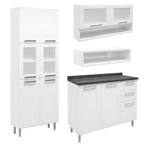 Imagem de Cozinha de Aço Compacta com Balcão 2 Gavetas, Armários Porta Vidro Temperado e Nicho Multipla Bertolini Branco