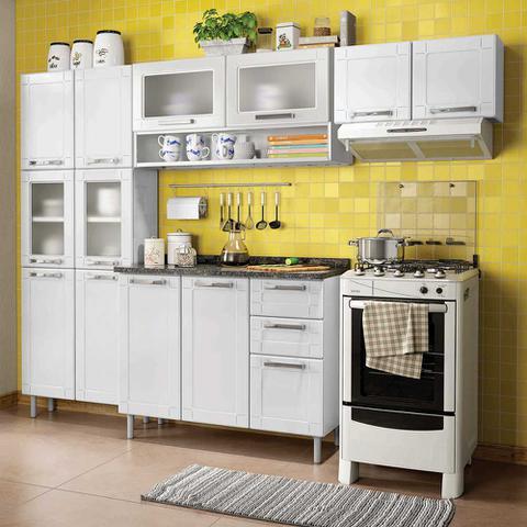Imagem de Cozinha de Aço Compacta com Balcão, Paneleiro e 2 Armários Aéreos Vidro Temperado Multipla Bertolini Branco