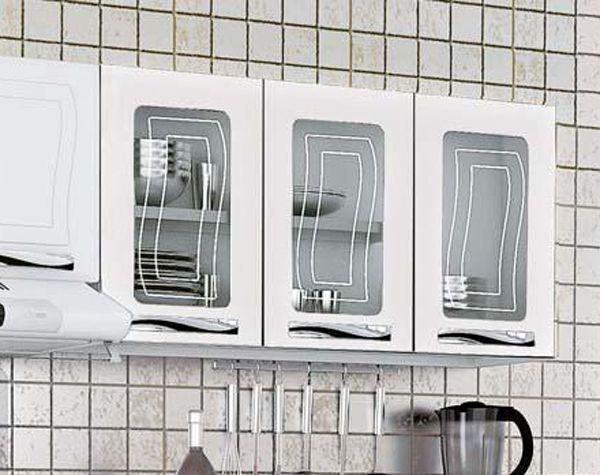 Imagem de Cozinha em aço Colormaq Ipanema 3 Peças com 11 portas e Armário Triplo com Vidro-Branco