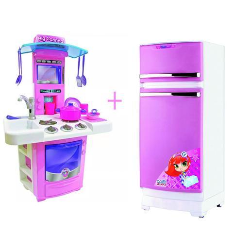Imagem de Cozinha infantil big star sai agua + geladeira rosa