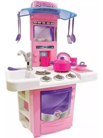 Imagem de Cozinha Infantil Com Fogão E Pia Com Agua - 16 Acessorios - Big Cozinha