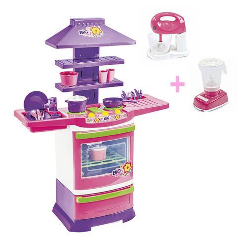 Imagem de Cozinha Infantil Completa Menina Batedeira E Liquidificador