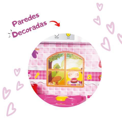 Imagem de Cozinha infantil grande maxi house rosa com fogão geladeira panelinhas e acessorios