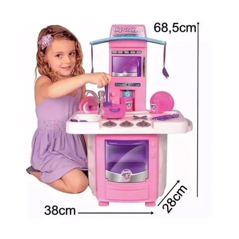 Imagem de Cozinha Infantil Rosa Completa Com Pia Fogão Forno Sai Água