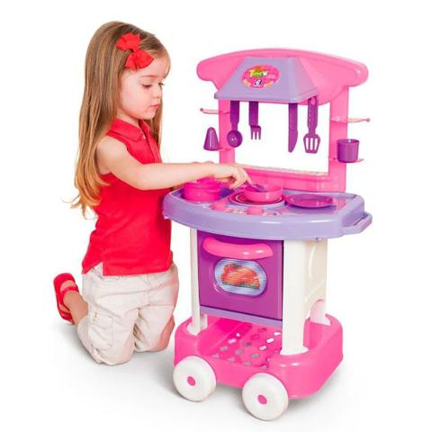 Imagem de Cozinha Infantil Rosa Forno Fogão E Pia Brinquedos Play Time Meninas Divertida Original Acessorios