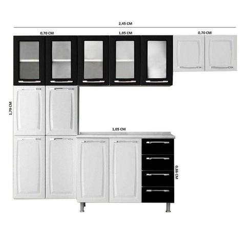 Imagem de Cozinha Itatiaia Criativa Compacta 4 Pecas Branco/Preto Paneleiro Armario Aereo 5 Vidros Gabinete