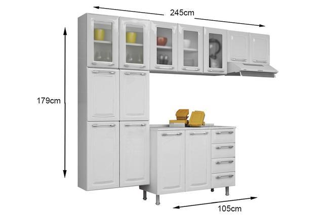 Imagem de Cozinha Itatiaia Criativa Compacta 4 Pecas Paneleiro, Armario Aereo 5 Vidros Gabinete BRANCO