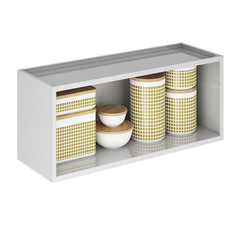Imagem de Cozinha Itatiaia Luce Armários Aéreos 4 Portas 3 Vidros Branco / Preto