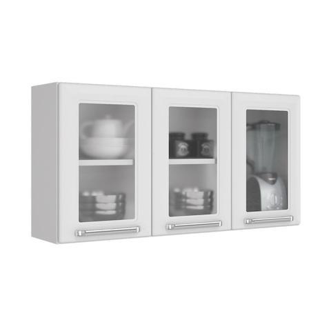 Imagem de Cozinha Itatiaia Luce Armários Aéreos 4 Portas 3 Vidros Branco