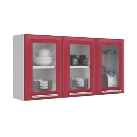 Imagem de Cozinha Itatiaia Luce Armários Aéreos 4 Portas 3 Vidros Vermelho / Preto