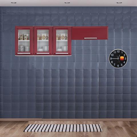 Imagem de Cozinha Itatiaia Luce Armários Aéreos 4 Portas 3 Vidros Vermelho