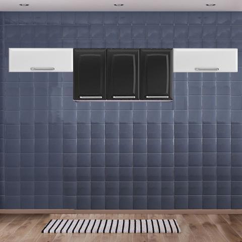 Imagem de Cozinha Itatiaia Luce com Armário Aéreo 5 Portas Preto / Branco