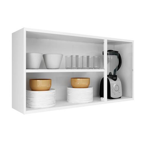 Imagem de Cozinha Itatiaia Luce com Armário Aéreo com 3 Vidros 5 Portas Preto / Branco