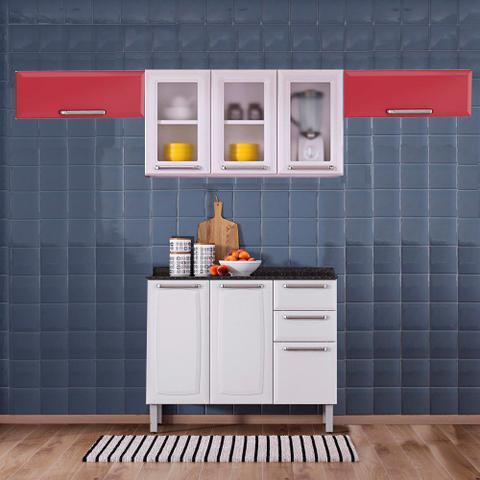 Imagem de Cozinha Itatiaia Luce com Armários Aéreos e Balcão 2 Gavetas 8 Portas 3 Vidros Branco / Vermelho