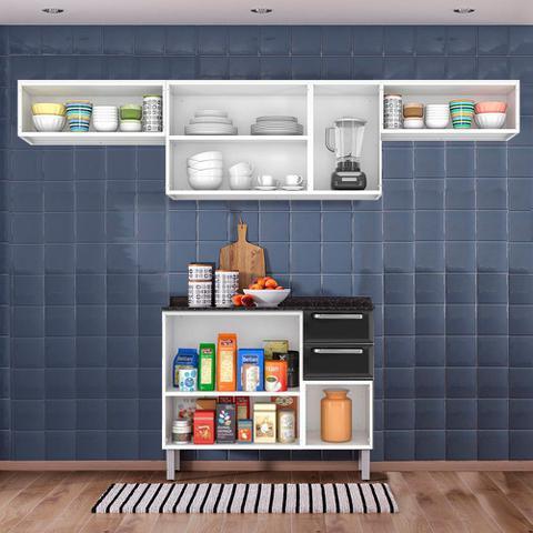 Imagem de Cozinha Itatiaia Luce com Armários Aéreos e Balcão 2 Gavetas 8 Portas 3 Vidros Preto / Vermelho